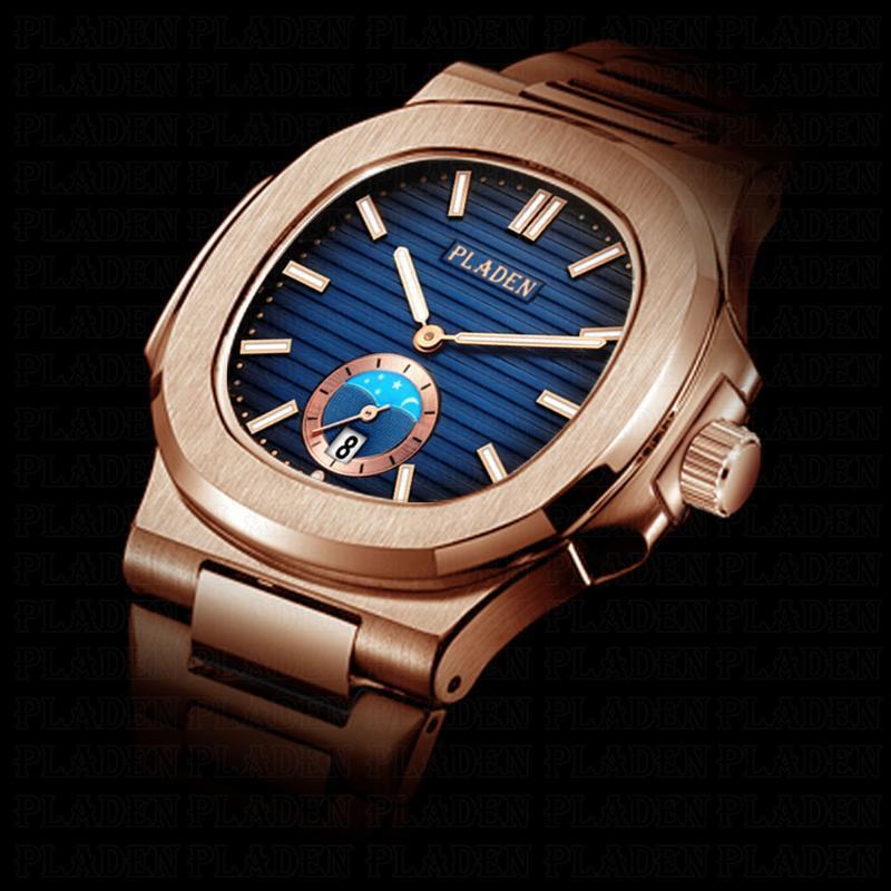 ساعات المعصم Pladen Tag ماركة أزياء الرجال الرياضة التناظرية ساعات رجالية كوارتز ساعة الذكور عارضة التدرج الأزرق الكامل الفولاذ المقاوم للصدأ heuerwatch