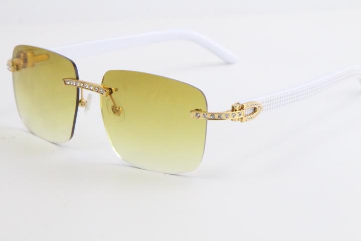 2020 판매 무테 다이아몬드 선글라스 8300816 화이트 판자 선글라스 클래식 조종사 금속 프레임 간단한 레저는 남성과 여성의 핫 안경