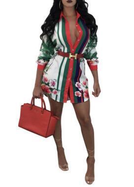 Desgin Damen Blusen-2019 Herbst und Winter plus Größe Europäische und amerikanische Mode-Druck-Hemd Multicolor Damenbekleidung