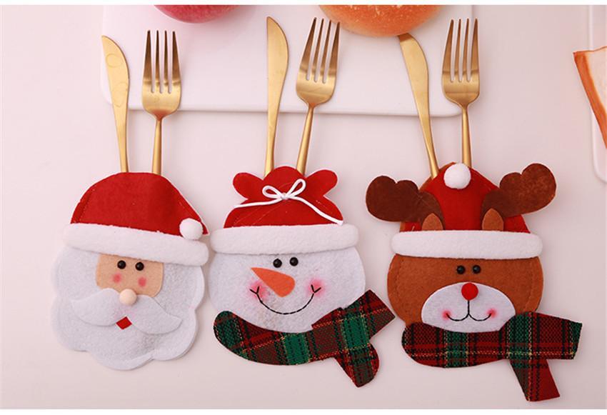 New Cheapest Christmas Tableware Set Christmas Cartoon Cutlery Set Santa Claus Knife Fork Holder Party Supplies Desktop Decoration A07