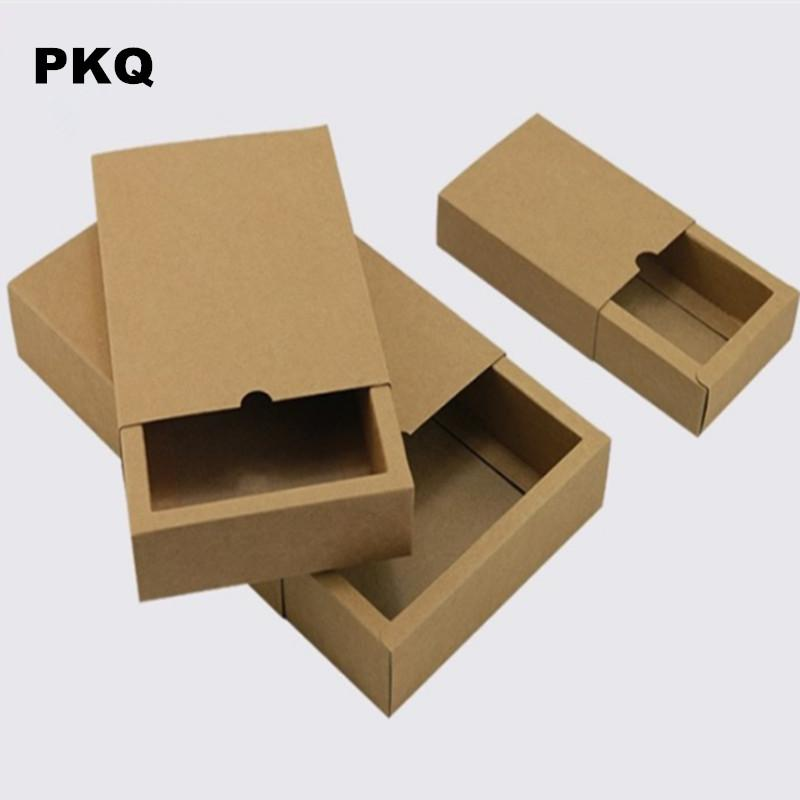 10pcs/lot Free Shipping Kraft Paper Box Drawer Gift Packaging box brown Craft Cardboard Boxes for Candy Soap