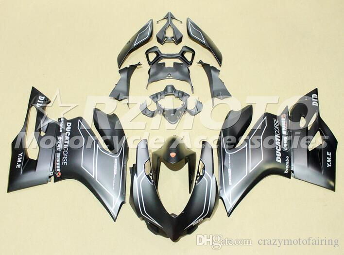 New ABS injection moule moto pleine carénages Fit Pour DUCATI 899 1199 Panigale 2012 2013 2014 12 13 14 carrosserie Set Top noir mat