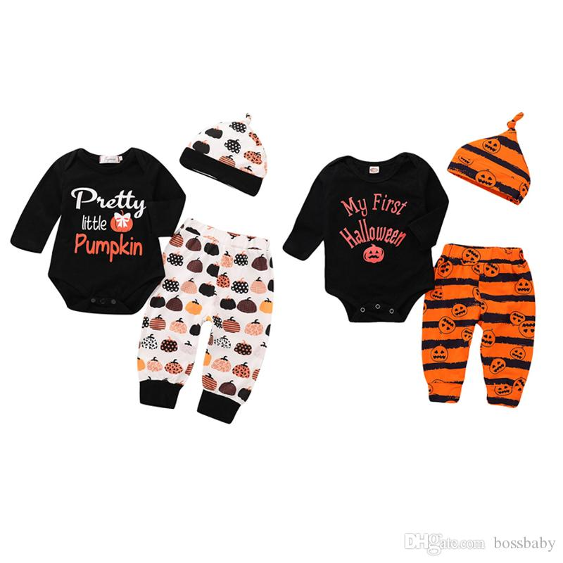 Toddler Infant Baby Girls Letter Ghost Dresses Tops Long Pants Halloween Outfit