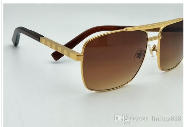 Comercio al por mayor 10PC Envío gratis hombres de lujo de marca gafas de sol de metal estilo vintage estilo de moda gafas de sol de marco cuadrado UV 400 Con Caja