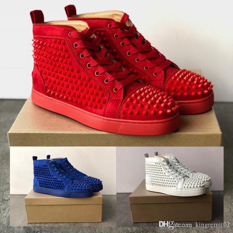 2019 nova moda alta Top Pik cravado homens sapatos melhores sapatos de grife Studded Spikes vermelho inferior sapatilhas preto couro branco sapatos de festa plana
