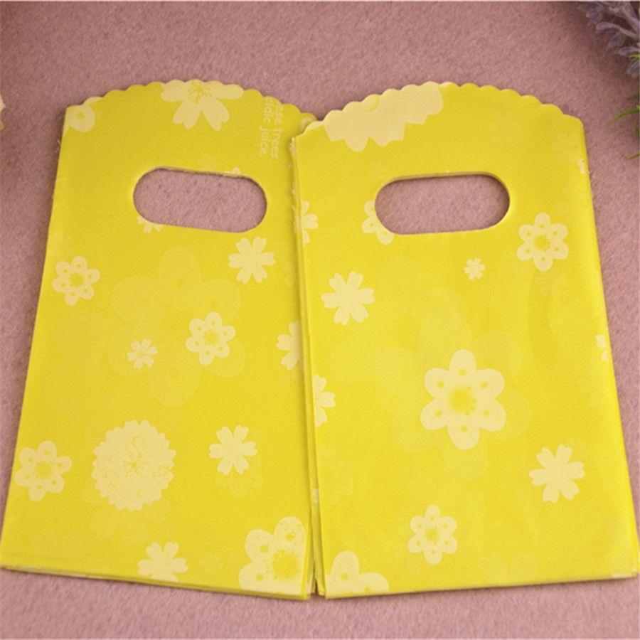 2016 Novo projeto 200pcs / lot 9 * 15 centímetros Moda de presente pequena embalagem Bolsas com alças limão plástico Mini Bolsas
