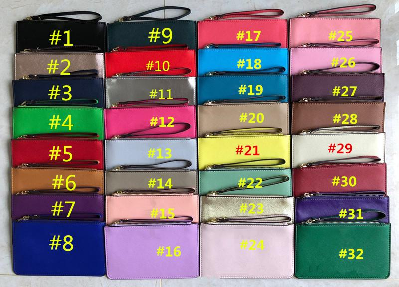 Kadın KS PU Deri Cüzdan Bileklik Fermuar Çanta Debriyaj Çanta Açık Seyahat Spor Kredi Kartı Para Çantaları Kız Çanta Sikke çanta 32 Renkler