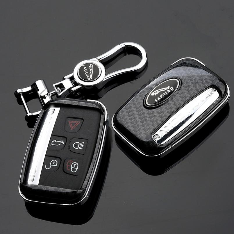 Para Estilo Car Jaguar XE XF XJ F-PACE fibra de carbono remoto Key Fob Shell Case Capa com Metal Keychain