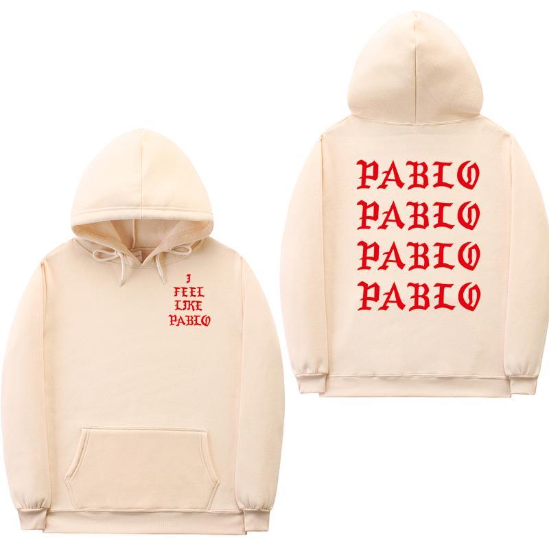 Фуфаек способа мужчины смешные письмо толстовки я чувствую, как Пабло фуфайки Hoodie хип-хоп пуловер толстовка толстовка