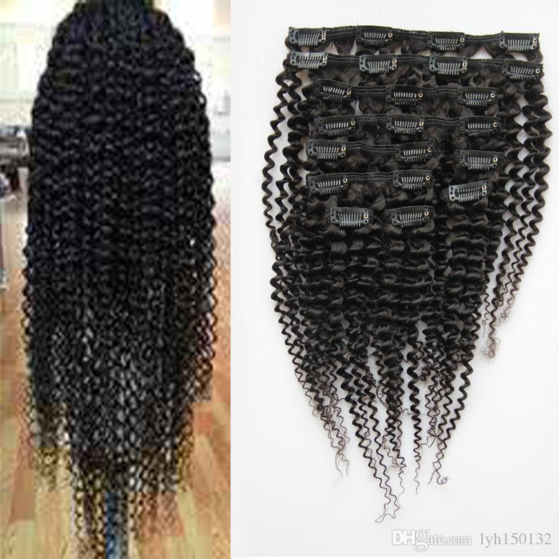 Grampo Em Extensões Do Cabelo Humano 100g Kinky Curly Clipe Ins Tecer 100% grampo de cabelo humano brasileiro Em Extensões Do Cabelo Humano Cabeça Cheia 8 Pçs / set