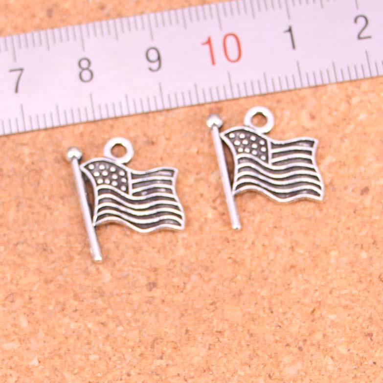 156pcs Charme-USA-Flagge-Antike-Silber überzogene Anhänger, die DIY Handmade tibetischen Silberschmuck 12mm