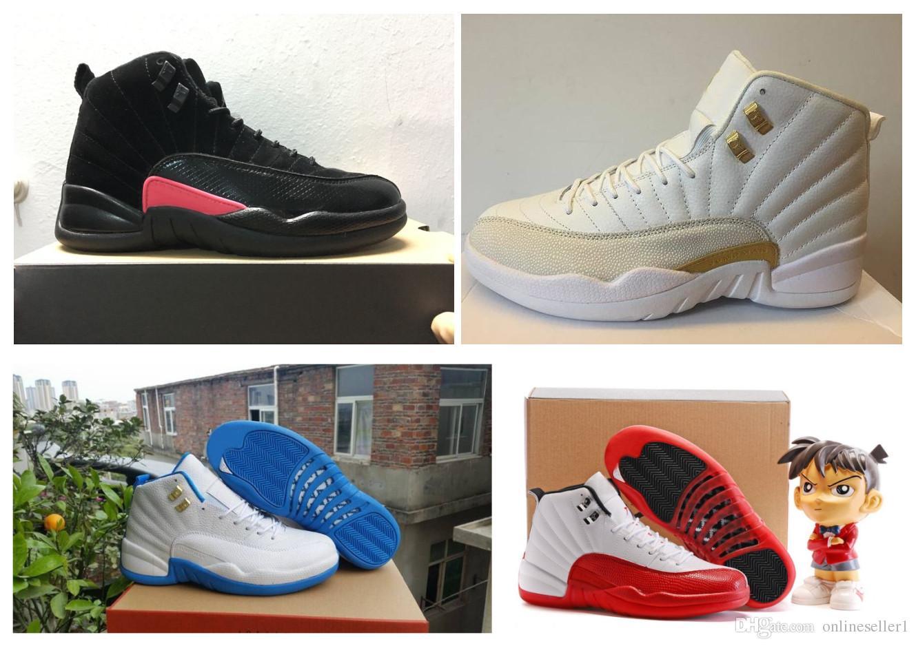 12s clássico Mens tênis de basquete Sneakers OVO Branco Preto Gym Red turma de 2003 Azul Bege 12 sapatos tênis para homem com caixa