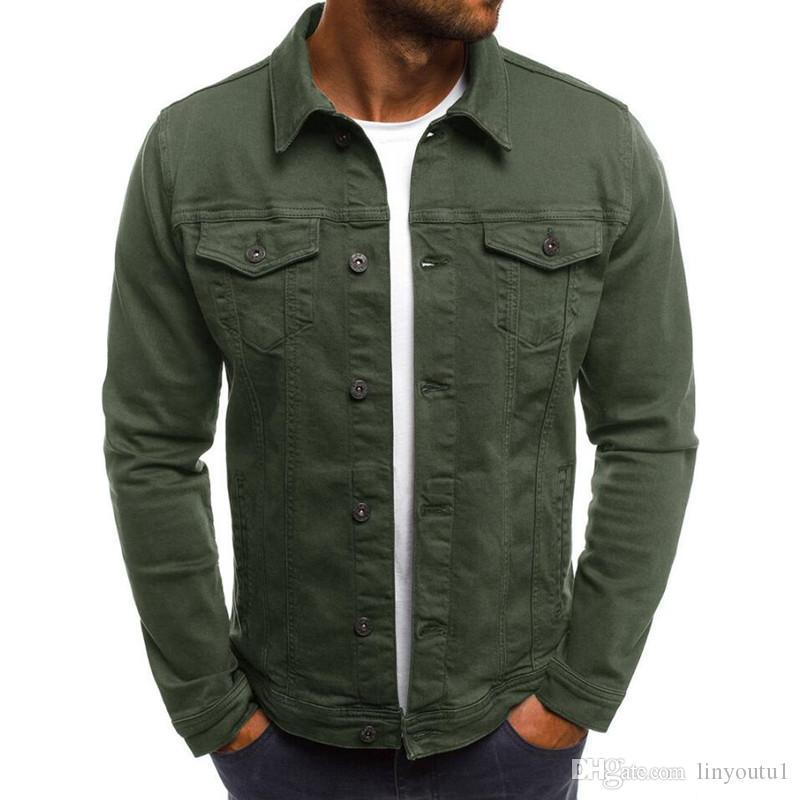 2019 Denim Chaqueta de los hombres de alta calidad de moda Jeans Chaquetas Slim Fit Casual Streetwear Vintage Hombres Jean ropa más el tamaño # 0924