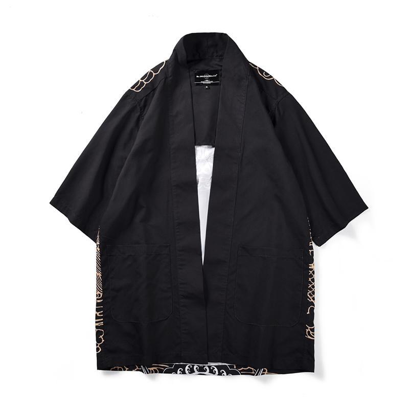 Kimono di stile giapponese Kimono di moda Uomo Trench manica tre quarti Cappotto cinese tradizionale Abbigliamento uomo in poliestere allentato