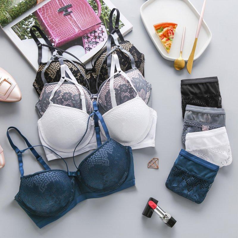 Moda Kadınlar Seksi Sütyen Seti Tel Ücretsiz Katı Renk İç Dantel Çiçek Külot ve Yarım Kupası Sütyen İç İç Seti