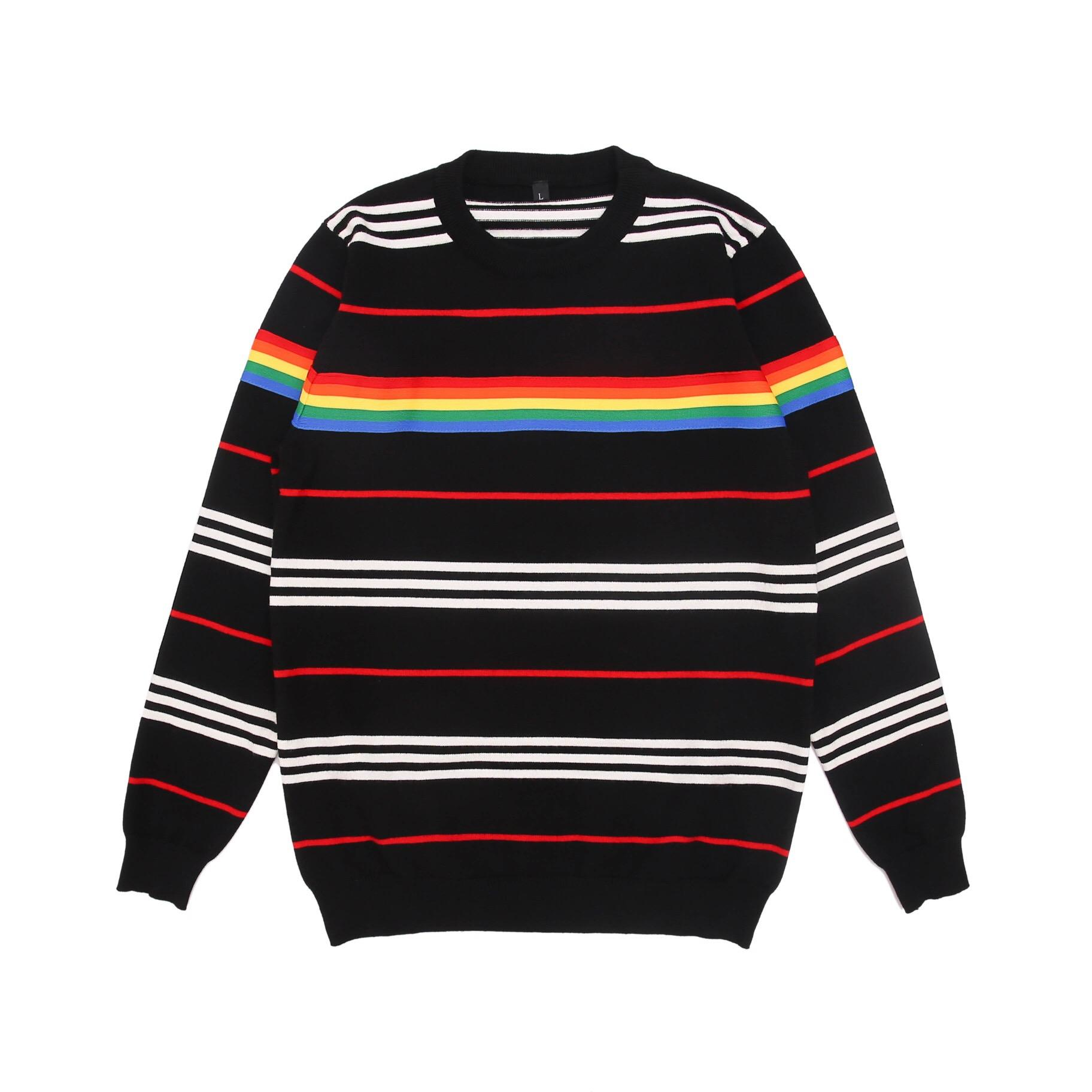 2019 nuevo de la manera cuello redondo de la marca de lujo de la marca suéter suéter suéteres de los hombres suéter a rayas tamaño M-3XL