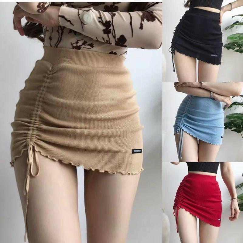 cintura alta lateral hip irregular elástica saia curta apertada pacote cordão de malha mini-saia rua sexy moda