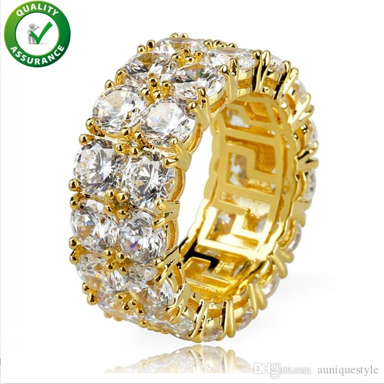 Hip Hop Ring, Auniquestyle Micro Pave CZ Stone 2 Row Tennis Ring Men Women Charm Jewelry Crystal Zircon Diamond Gold Silver Color Plated