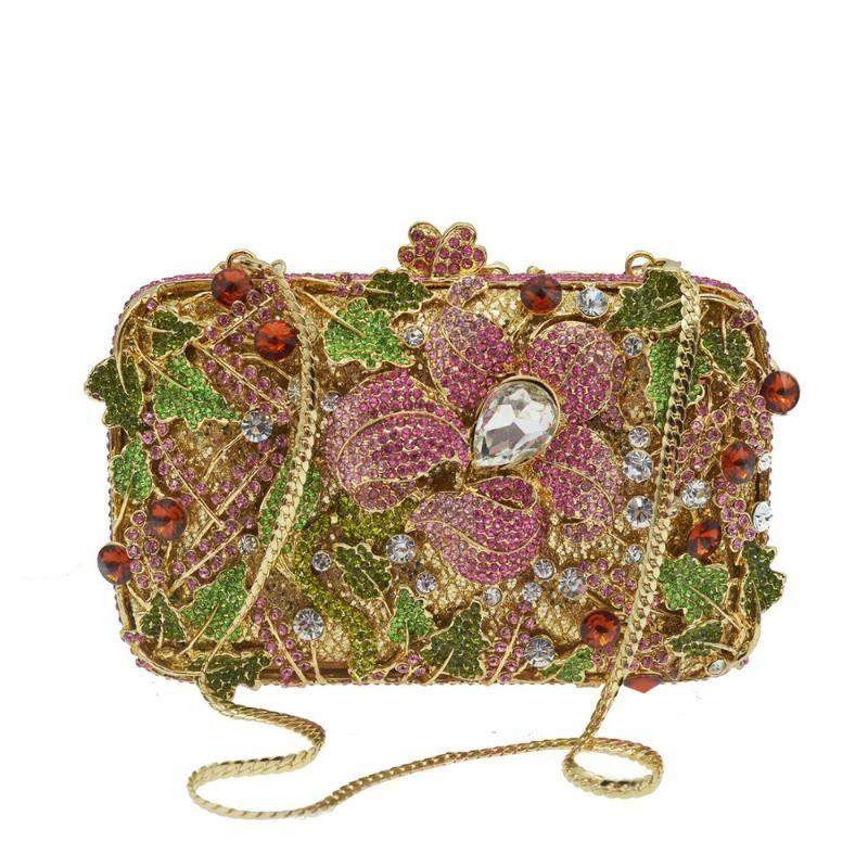 feuille coloré Dazzling cristal d'embrayage sac de soirée de mariage de mariée embrayage soirée Sacs à main Sacs à bandoulière femmes sac bandoulière