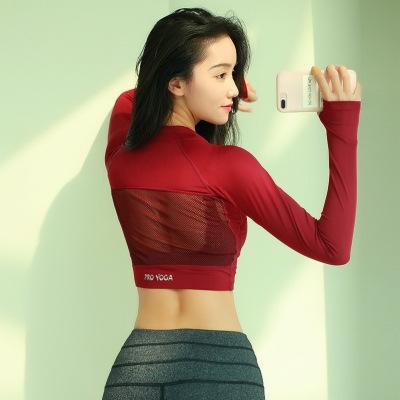 Las mujeres camisas de la yoga Yoga superior de manga larga para las mujeres atractivas ahuecan hacia fuera la ropa de gimnasia sesión de entrenamiento de la parte superior del pulgar recorte del agujero de la yoga camisetas T200622
