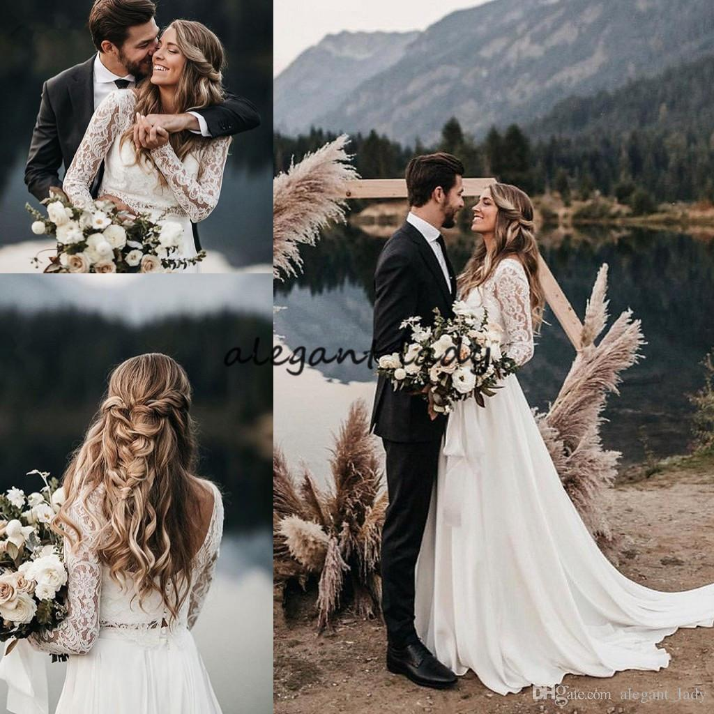 Newest Bohemian Beach Wedding Dresses with Long Sleeve 2019 Full Lace Two Pieces Low Back Western Country Outdoor Bride Wedding Gown