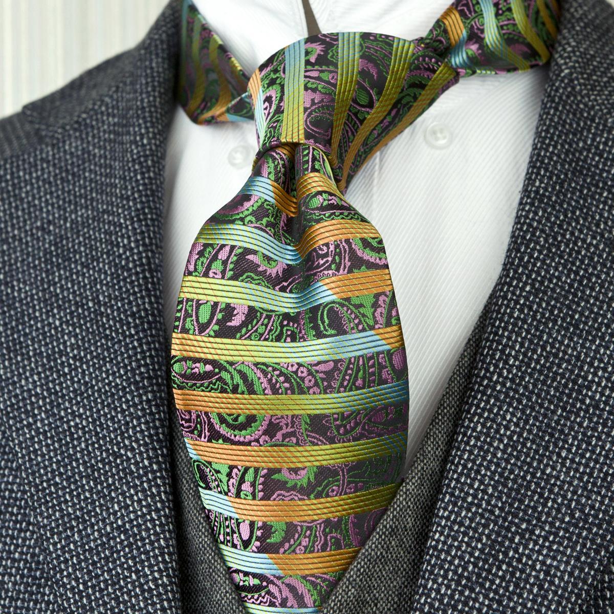 Trendy F14 Multicolor Stripes Paisley vert jaune bleu cravate pour hommes Cravate 100% soie jacquard tissé Tie Ensembles Hanky Livraison gratuite en gros