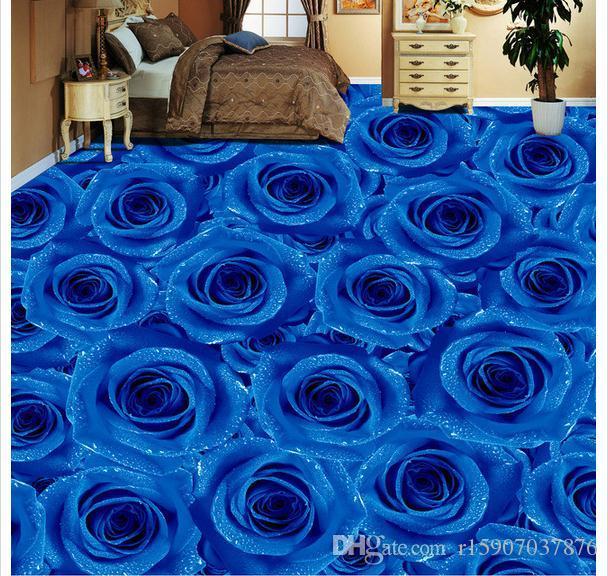 Customized 3D photo mural wallpaper pvc self-adhesive waterproof flooring wall sticker Blue Rose Living Room Bedroom 3D Floor Tiles