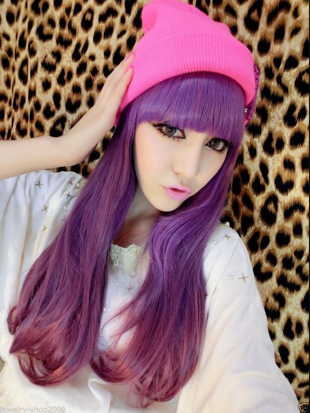 WIG FREE SHIPPING Hot heat resistant Party hair>>Title1138 Cosplay LOLITA Purple Gradient Color Heat Resistant Long Wig