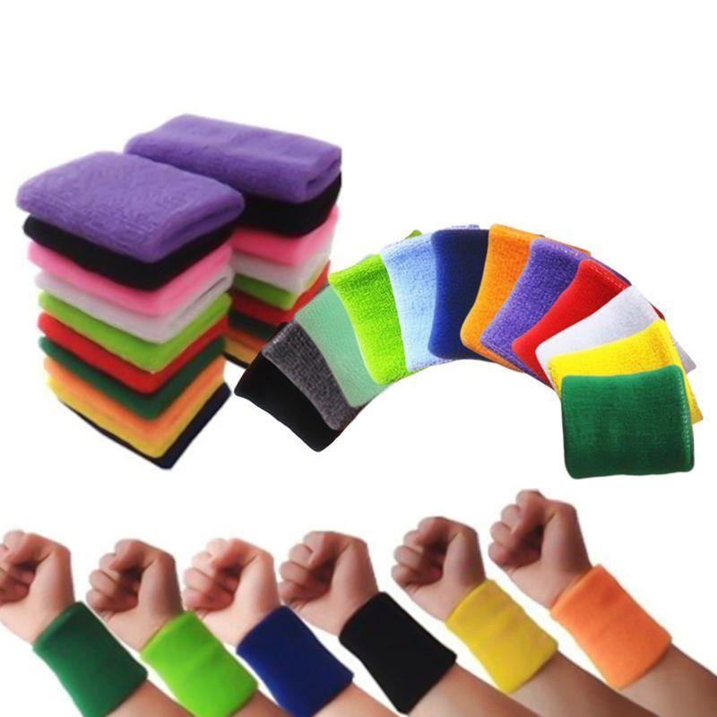 Qualité Coton Bandeaux Prévenir Transpiration Solid Color Poignet bandes Bandeaux unisexe Sweat Band Sport Tennis