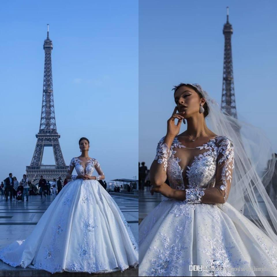 Luxury Dubai Arabic Ivory Lace Wedding Dresses Ball Gown Satin
