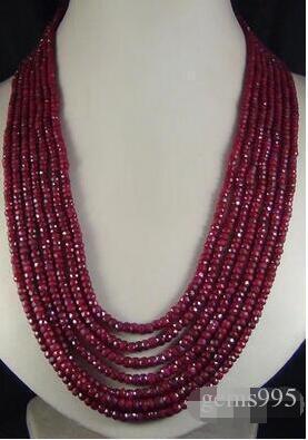 design charmant à long 7 rangs 2x4mm pierre rouge naturel bijoux collier de perles à facettes jewelry17-23 argent naturel « »