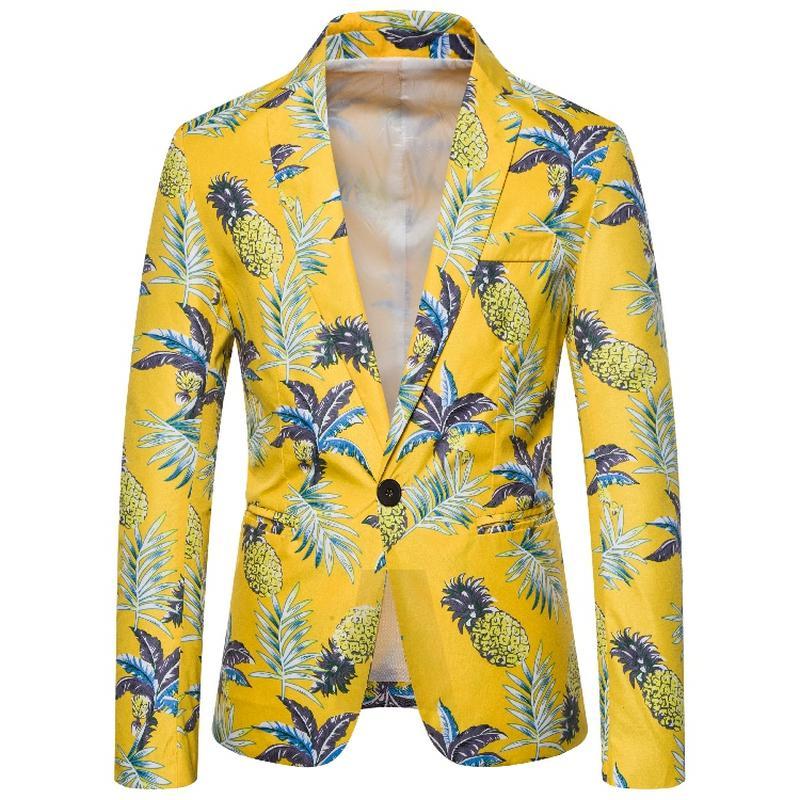 I nuovi uomini Giacca Hawaii Flower Fashion Style Ananas Stampa rivestimento del cappotto del vestito maschile autunno di alta qualità europea di formato M-3XL