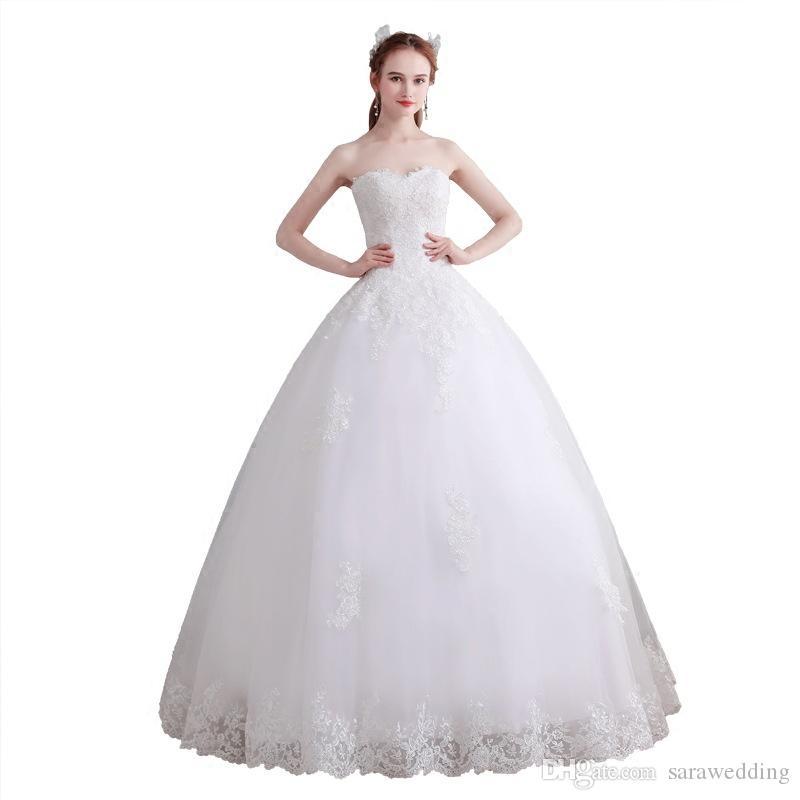 Vestido de novia de novia con forma de bola y vestidos de novia con apliques de encaje 2019 hasta el suelo