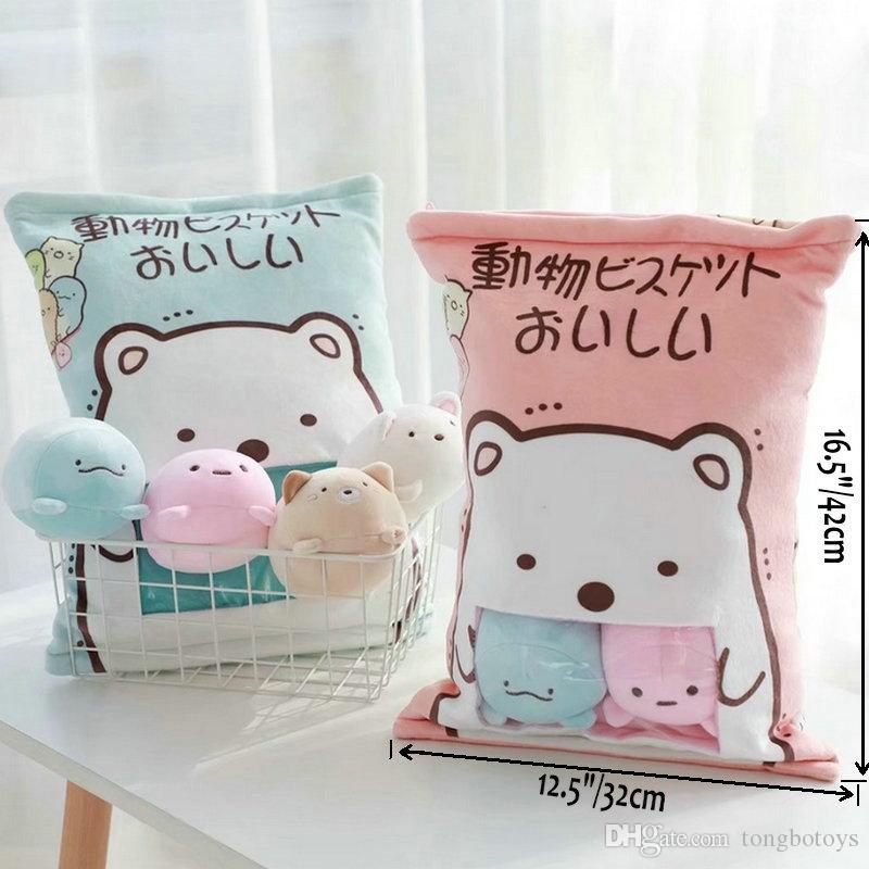 4pcs/8pcs 인형 스미 코 구라시 베개 봉제 동물 장난감 일본 고양이 곰 코너 바이오 만화 인형 어린이를위한 창조적 인 장난감