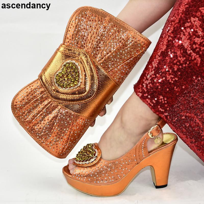 Italienische Damen-Schuhe und Tasche Match-Satz Orange Farbe African Schuh und Tasche Sets Schuhe Frauen 2020 Hochzeit Schuh