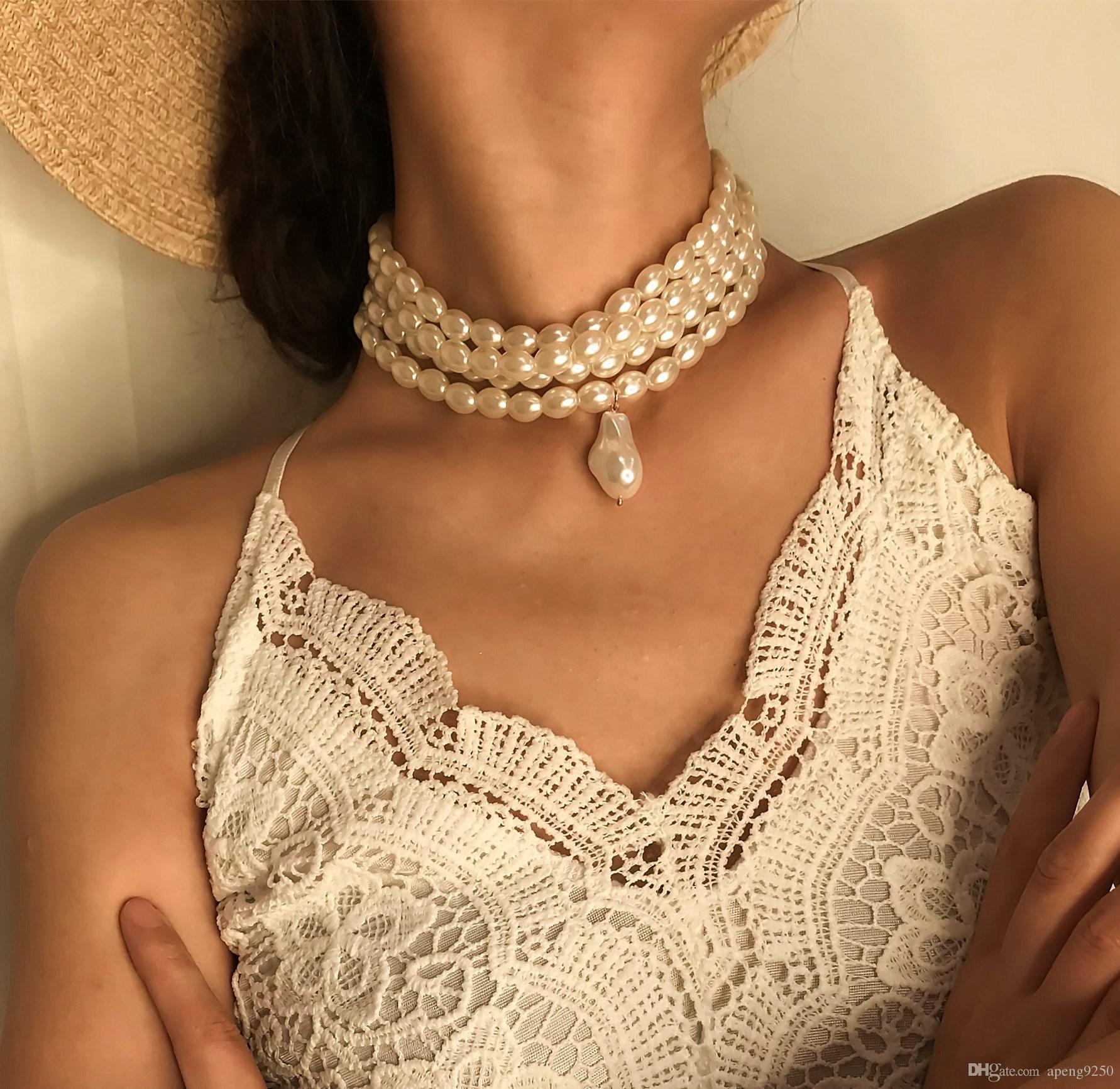 Collar colgante de perlas de múltiples capas simple