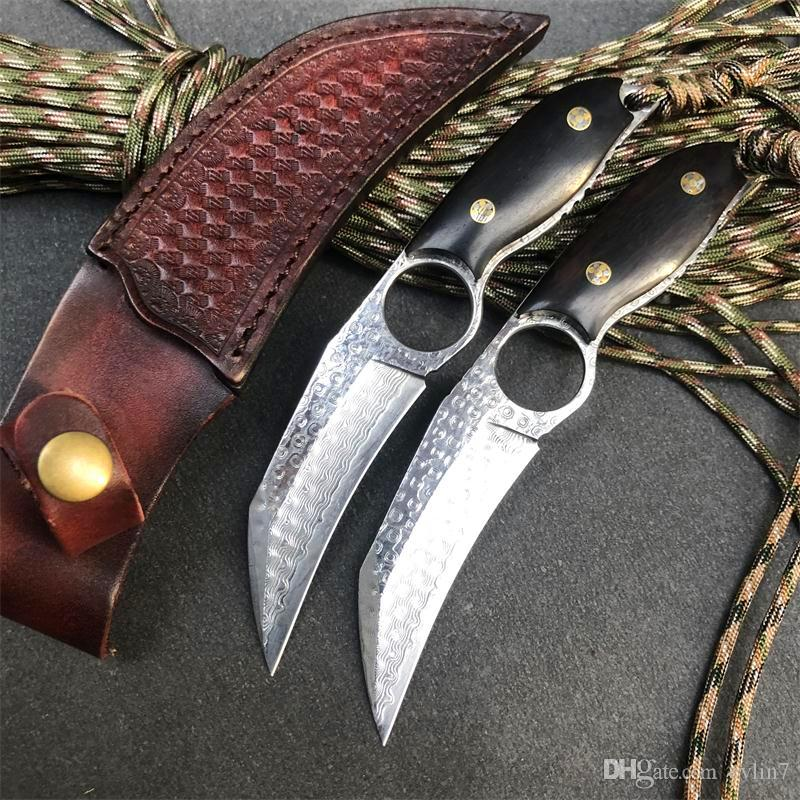 Damascus Fixed Blade Knife VG10 Damascus Steel Blade Full Tang Ebony Handle Tactical Knives With Leather Sheath