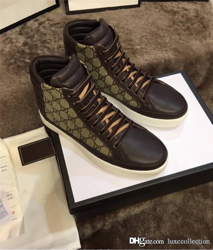 Klassische Herren-Leder-Turnschuh Imported Cowhand Leder mit speziellem Material High Top Mode Herren Sneaker
