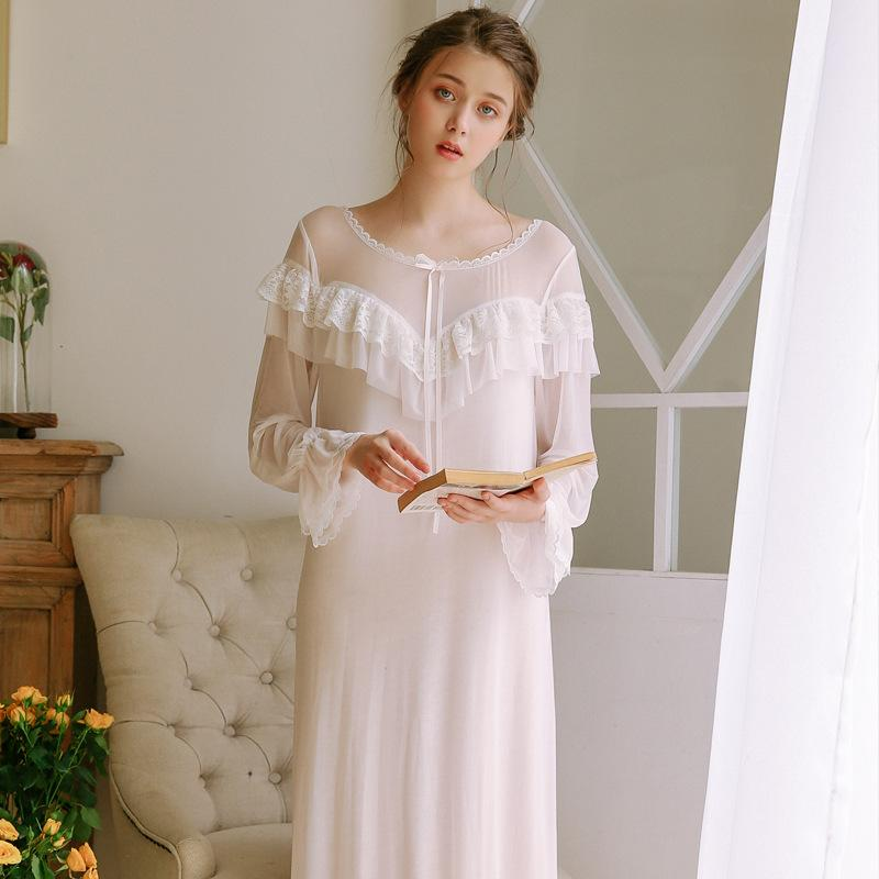 02fd04629f New Vintage Nightgowns Pregnant Women Dresses Long Sleeves Princess  Sleepwear Solid Lace Home Dress Comfortable Nightdress CA771