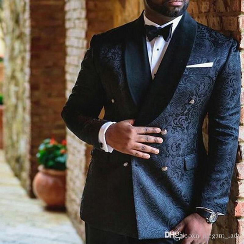 Marine-Blau-Stickerei Hochzeit Herren Anzüge zweireihige Individuelle Slim Fit Bräutigam Smoking Schal Revers Zweiteilige Jacke Hosen-Mann-Blazer