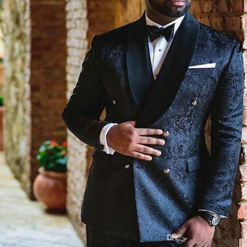 Navy Blue ricamo sposa abiti uomo Doppio Petto Slim Fit personalizzato smoking dello sposo dello scialle del risvolto Due Pantaloni piece rivestimento Maschio Blazer