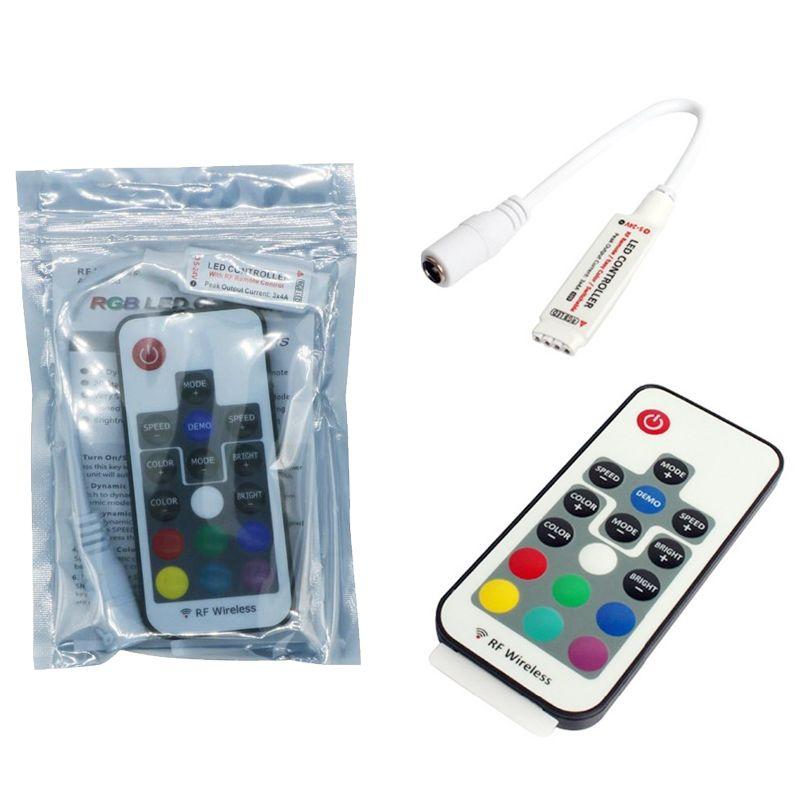 RGB streifen led rgb controller dc5v-24v 12a 17key mini rf drahtlose fernbedienung dimmer