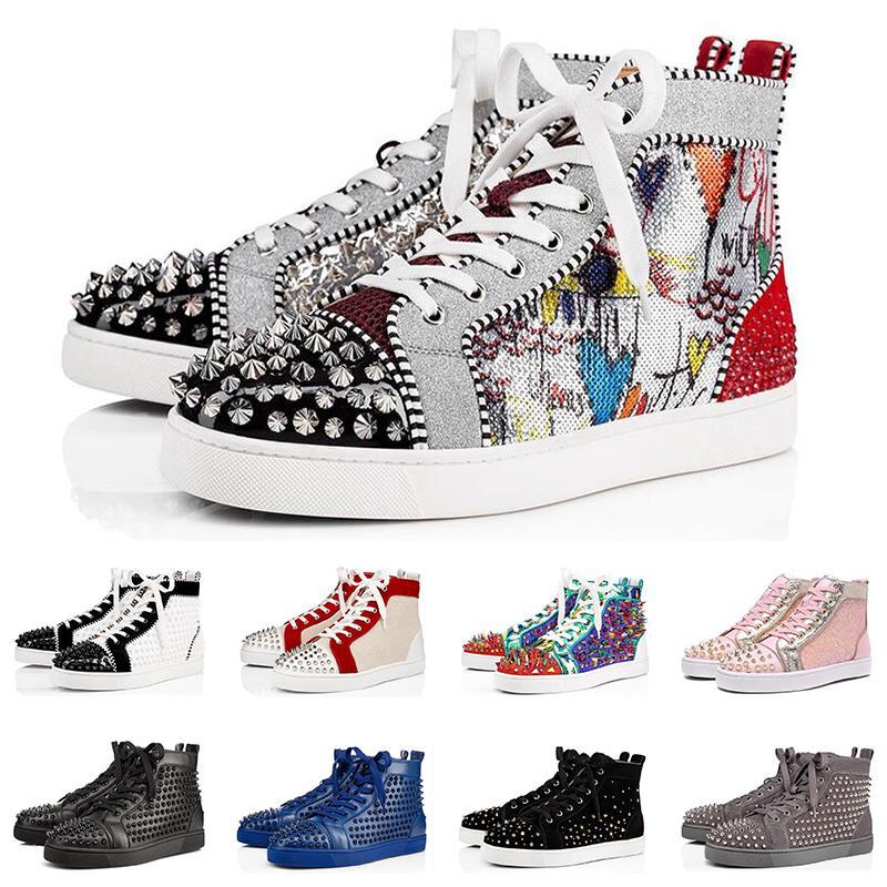 2020 erkekler kadınlar ayakkabı tasarımcısı lüks ani kırmızı üçlü siyah beyaz süet deri moda mens Flats dipleri ayakkabı numarası sneaker 36-47