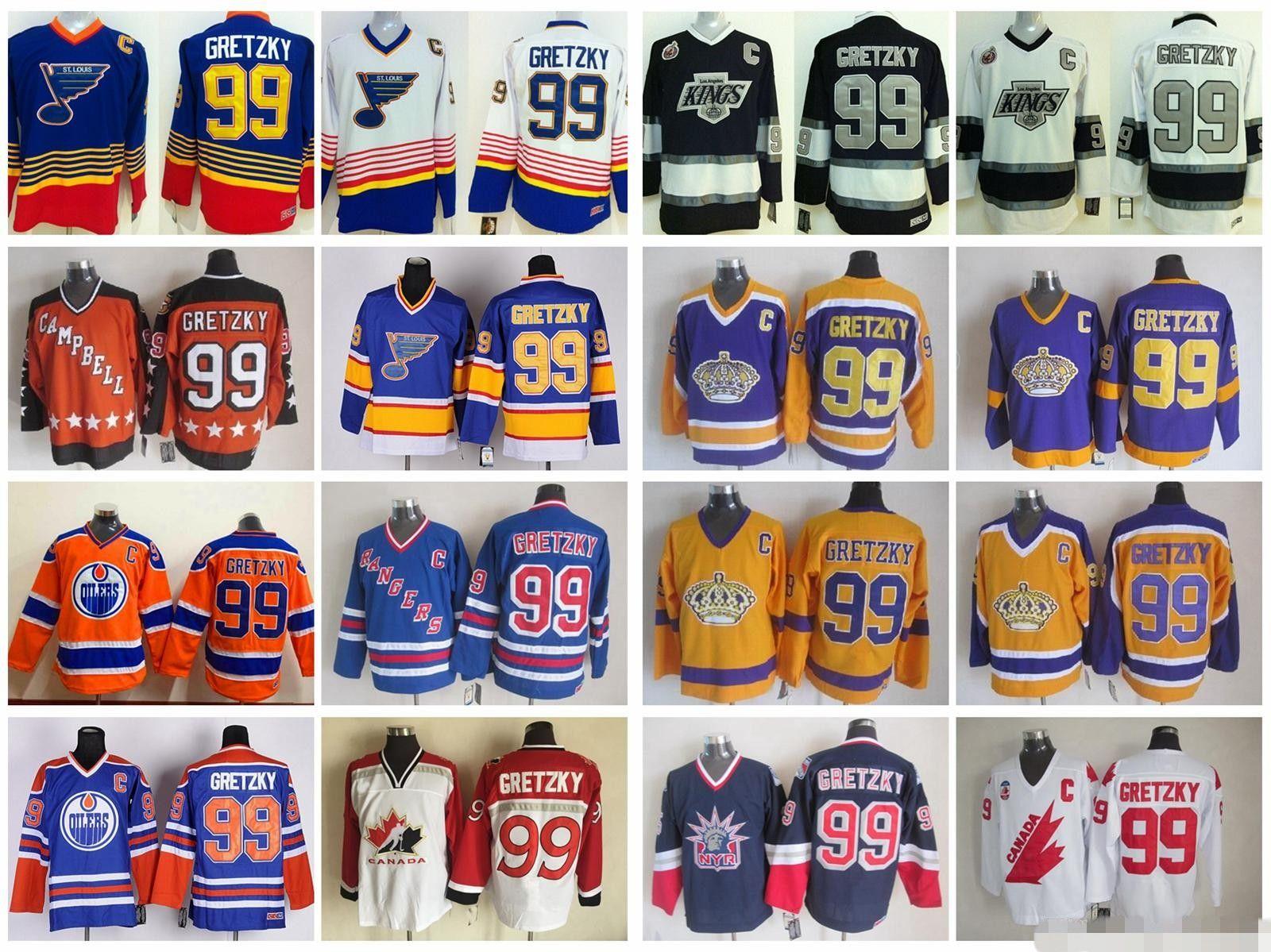 99 Wayne Gretzky Jersey Men Stitched Logo 1984 All Star New York Rangers LA Kings St. Louis Blues Hockey Gretzky Vintage Maglie
