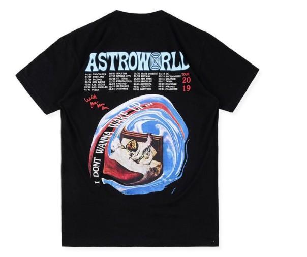 Mens T-shirt Astroworld TOUR Travis Scott Estate O-Collo manica corta da uomo magliette casual T-shirt Nero Bianco