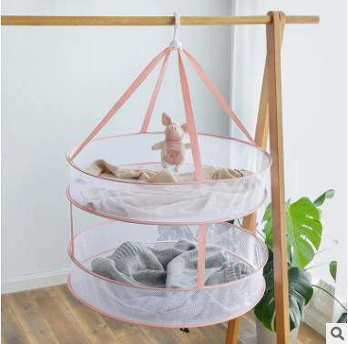 Folded Mesh Clothes Hanging Dryer Double-Layer Foldable Sweater Drying Basket Racks Hanging Clothes Laundry Net Mesh Basket Dryer Net 5 Size