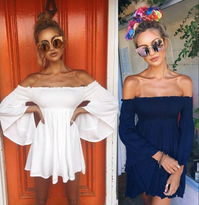 Women Fashion Designer Blouse Dress Summer Boho Mini Short Off Shoulder Shirt Dress Party Casual Clothing 722 6 Bridesmaids Dress Plus Size Prom Dress From Springwedding 13 7 Dhgate Com