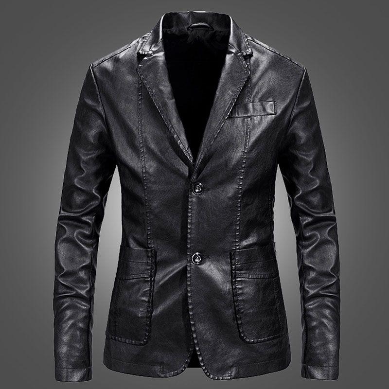 Homens de couro Blazer pele de carneiro 2019 Nova Primavera e Outono Moda Masculina Suit Genuine Brasão de couro slim bolso do adolescente