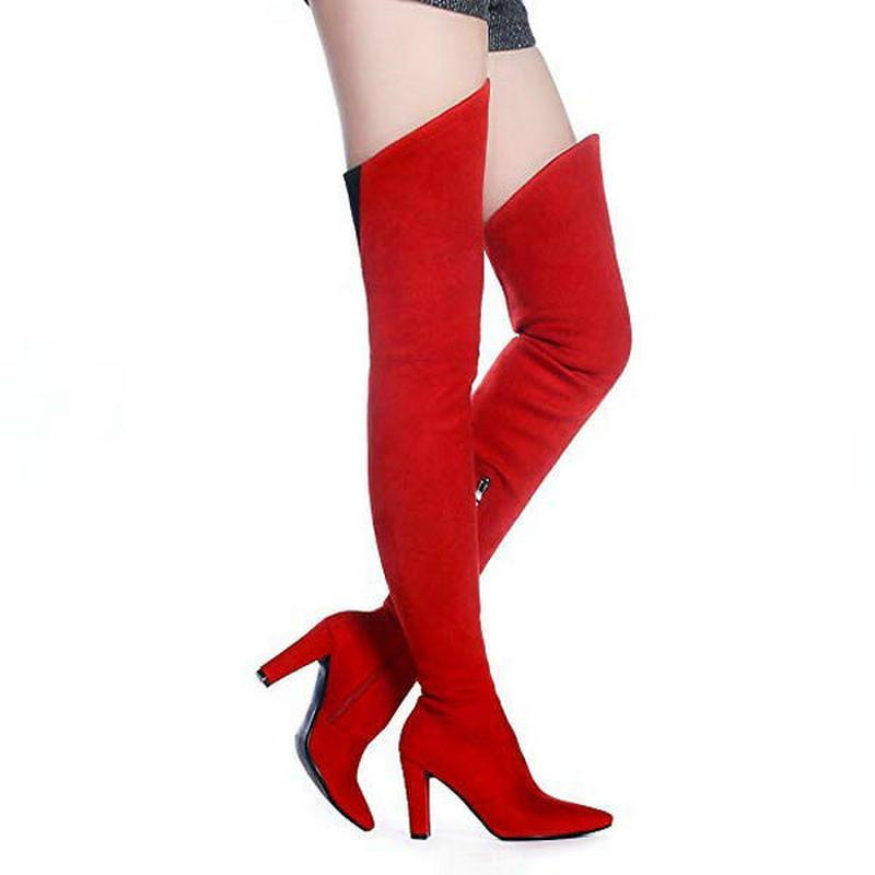 V Shape Thigh High Womens Stretch pelle scamosciata sopra gli stivali al ginocchio Punta a punta Party sexy femminile stivali lunghi Wide Calf con cerniera