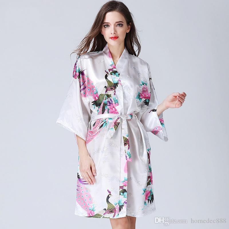 14 colores traje del kimono pijamas flor de la impresión V-cuello de Casa Ropa Sexy mujeres sueltan la manga del kimono de la ropa de noche con cinturón DH0669